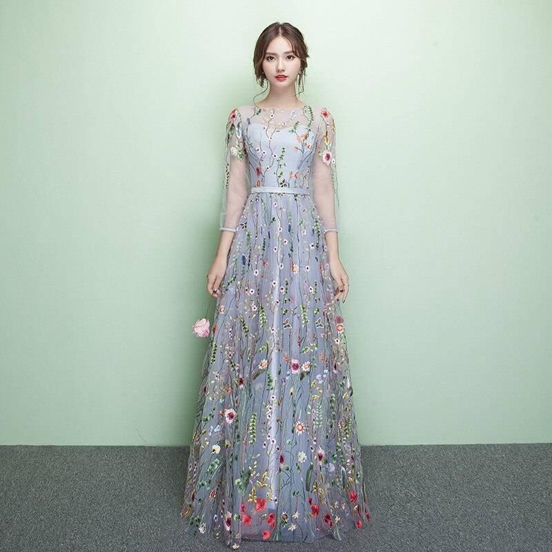 Elegant embroidery o-neck three quarter sleeve mesh dress