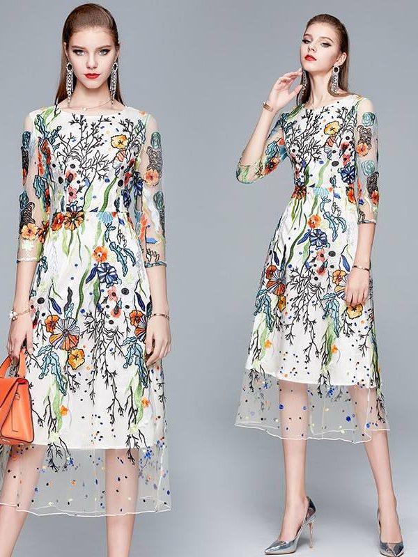 Elegant embroidery floral bohemian boho mesh dress