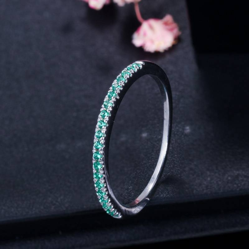 CWWZircons Stack Skinny Micro Pave CZ Fashion Women Engagement Wedding Bridal Party Cubic Zirconia Rings Sets Jewelry Gift R127