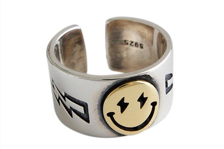 DreamySky Punk Vintage Smile Face Rings For Women Boho Female Charms Jewelry Men Antique Knuckle Ring Fashion Party Gift