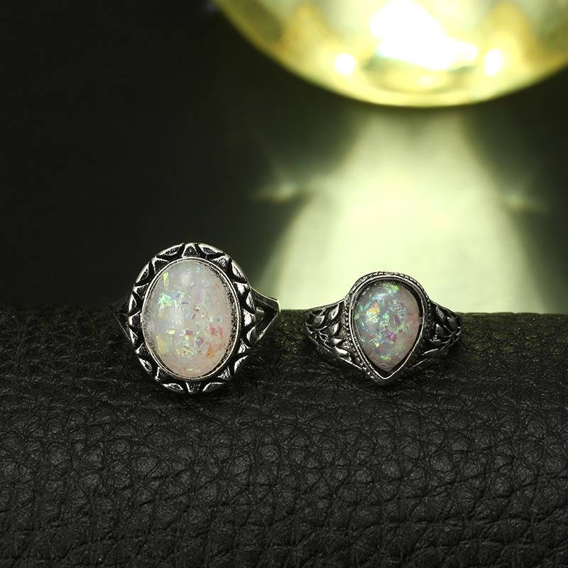 Tocona 8pcs/Set Vintage Antique Silver Color Rings Sets Colorful Opal Stone Carve for Women Men Bohemian Jewelry Anillos 6421