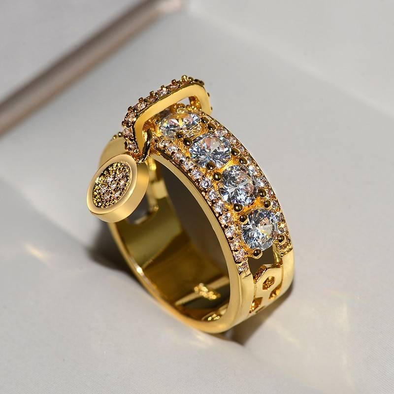 White zircon engagement ring
