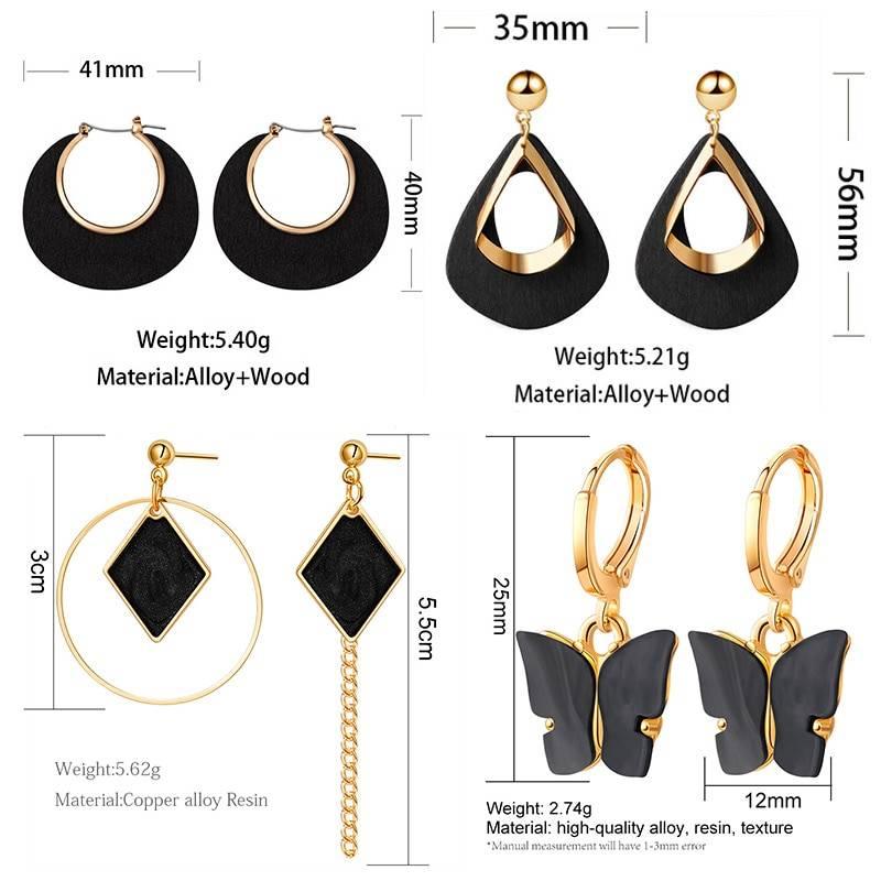 POXAM New Korean Statement Earrings for women Black Cute Arcylic Geometric Dangle Drop Gold Earings Brincos 2020 Fashion Jewelry