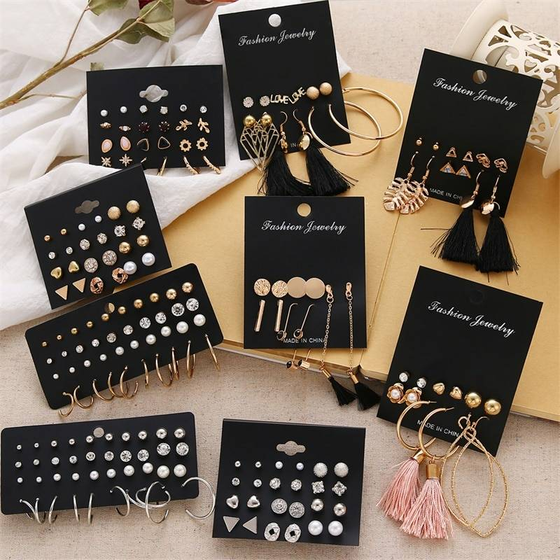 FNIO Women's Earrings Set Pearl Earrings For Women Bohemian Fashion Jewelry 2020 Geometric Crystal Heart Stud Earrings