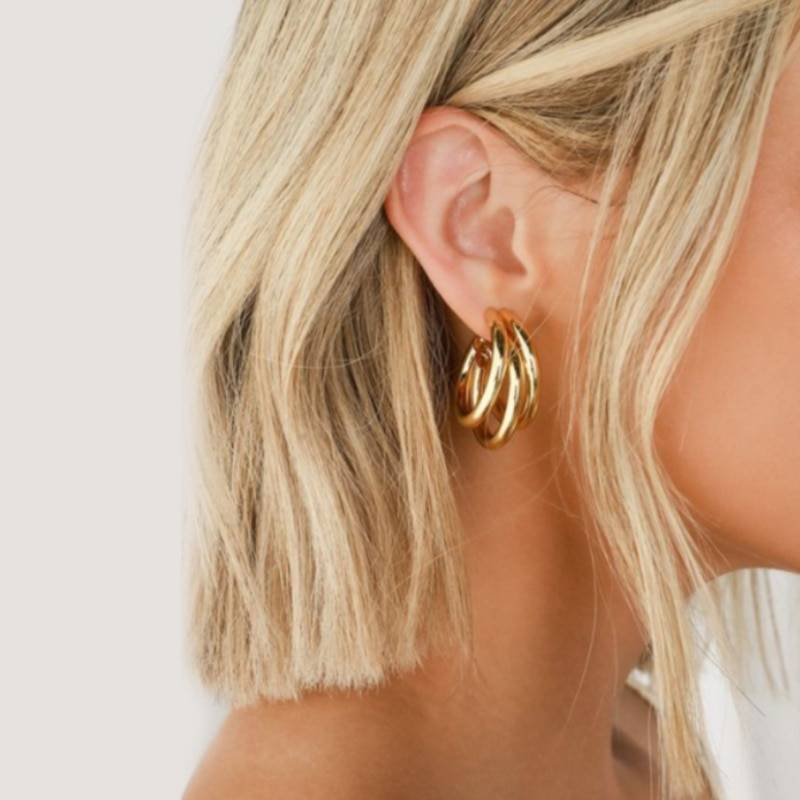 Geometry Metal Gold Retro Drop Earrings 7