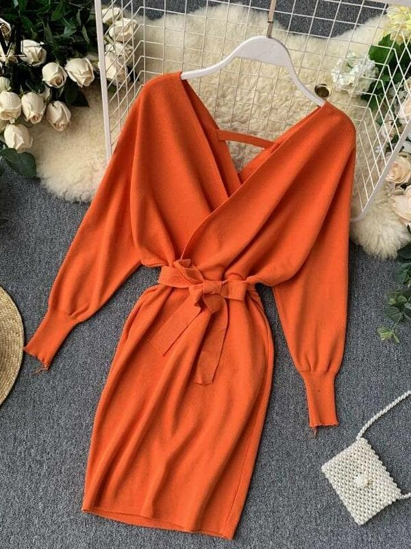 Long batwing sleeve v neck knitted sweater dress