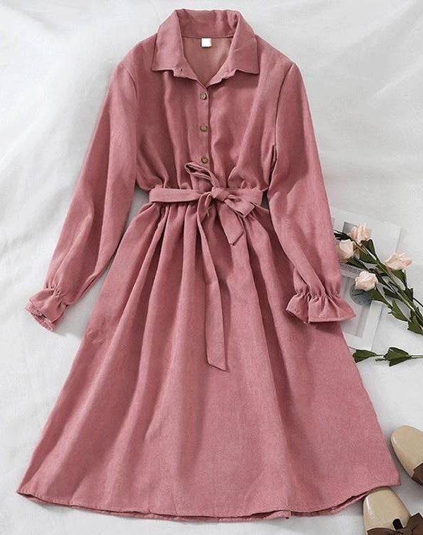 Long sleeve turn down collar vintage shirt dress
