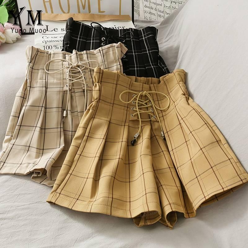 Vintage high waist plaid wide leg short pants