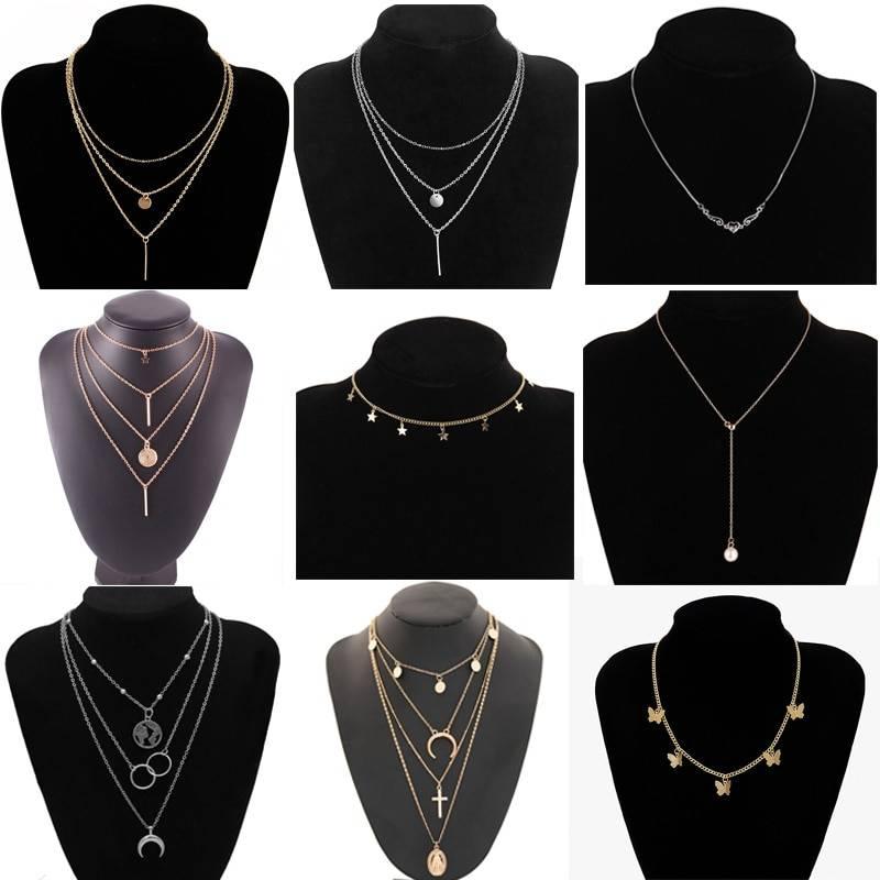 Vintage multilayer pendant butterfly necklace