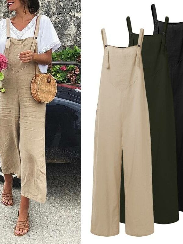 Vintage sleeveless straps wide leg trousers romper long jumpsuit