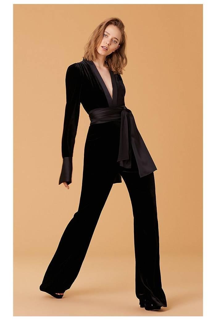 Velvet deep v neck long sleeve black jumpsuit