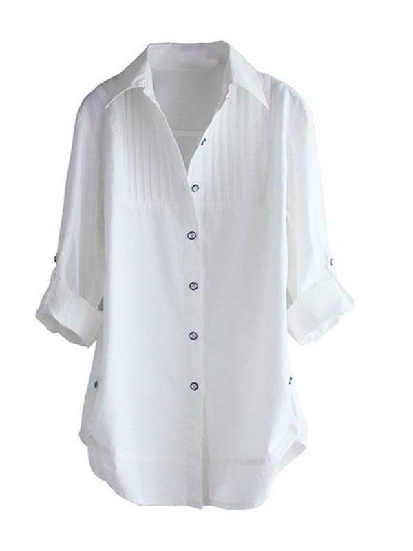 Long sleeve white blouse elegant office shirt