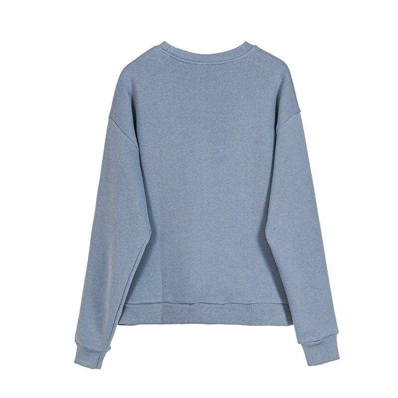 Abstract character embroidered pullover sweatshirt