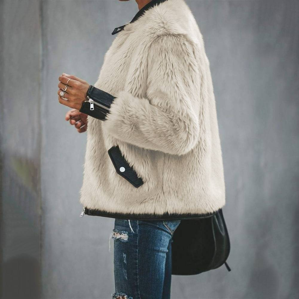 Mixed fur warm zipper coat jacket