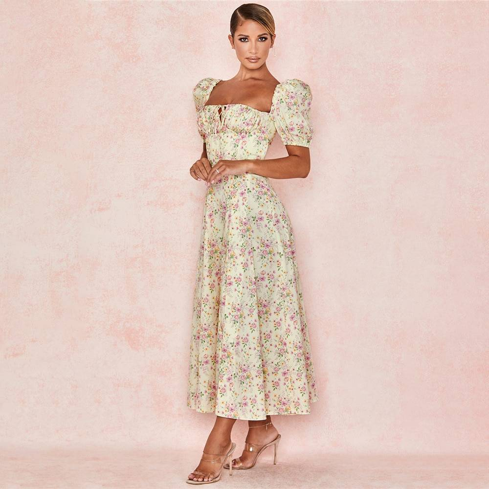 Short puff sleeve floral print ruched high split long dress