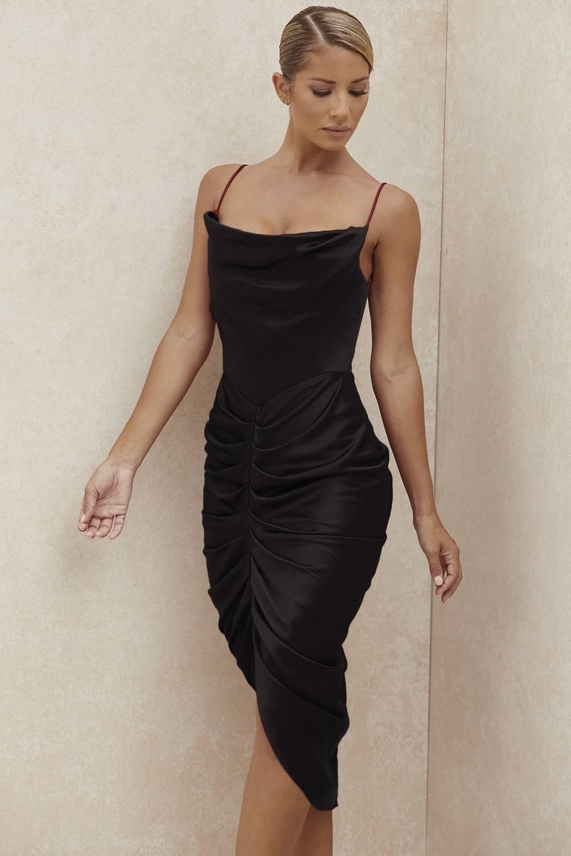 Satin side slit pleated backless midi dress