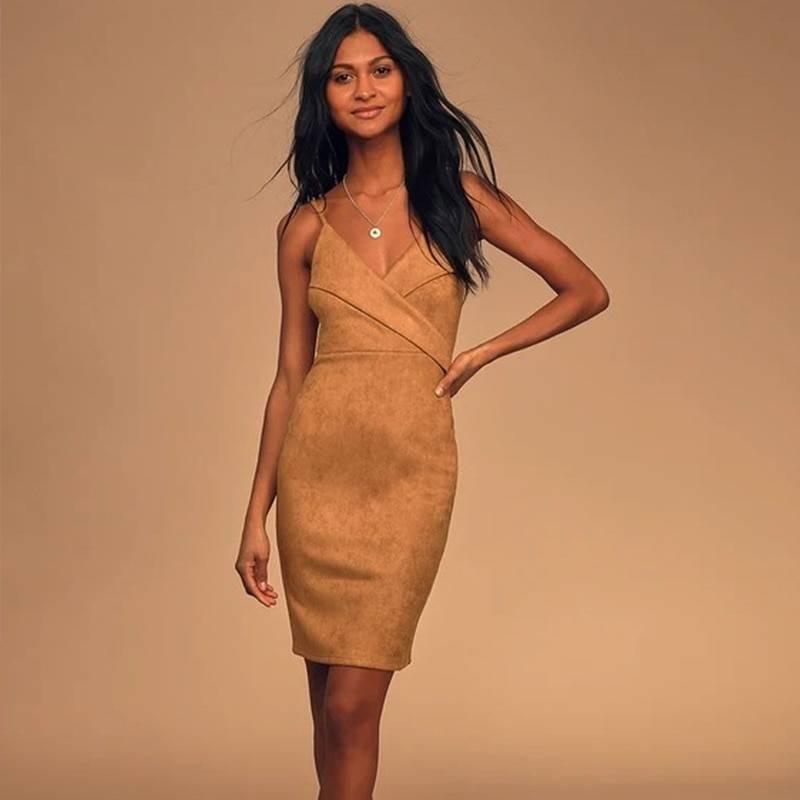 Tan suede leather sleeveless spaghetti straps pencil bodycon midi dress