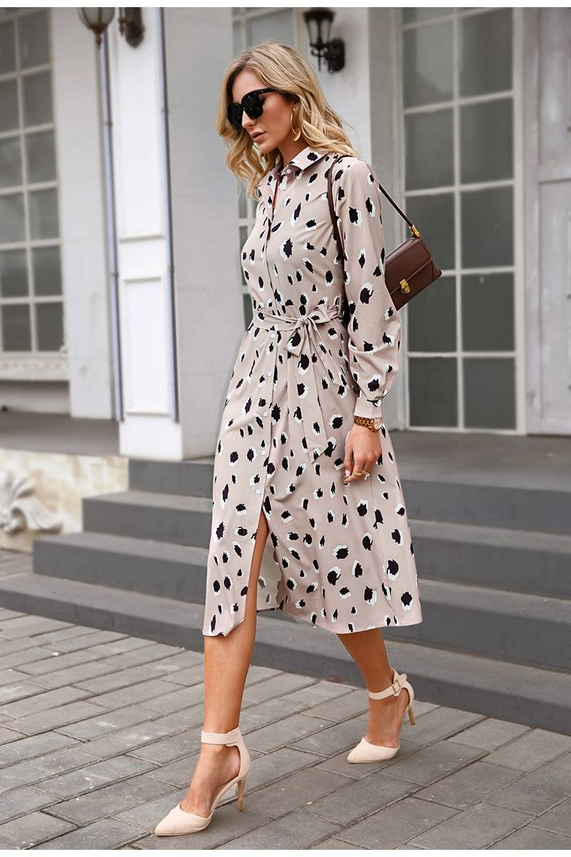 Leopard print collar mid-length long-sleeved lace-up office dress