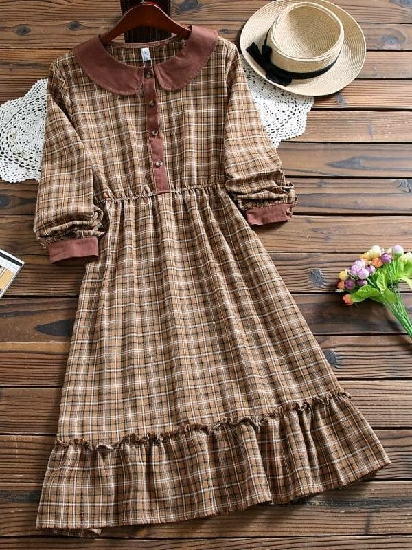 Peter pan collar long sleeve plaid dress