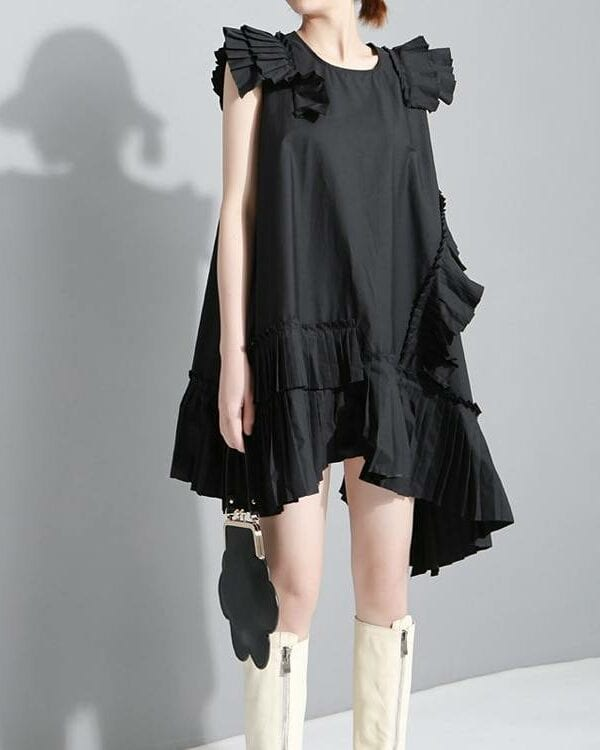 Black sleeveless pleated ruffles midi loose dress