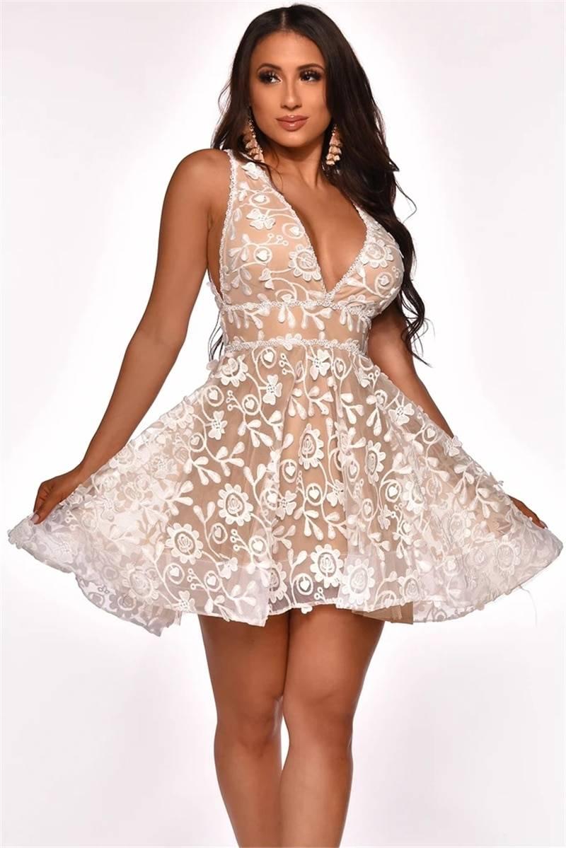 Elegant deep v neck floral lace backless dress