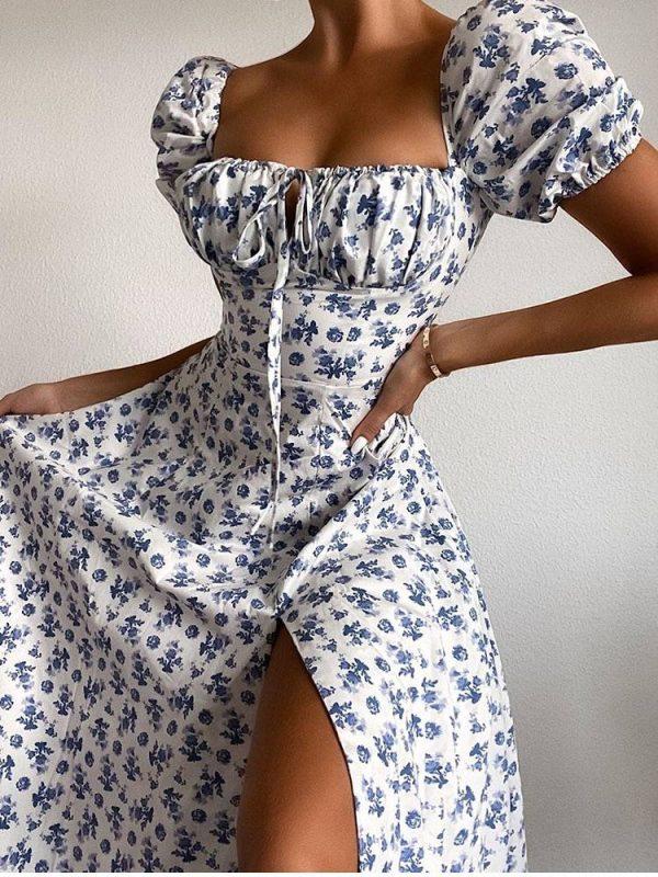 Floral print puff short sleeve high split lace up sweet dress
