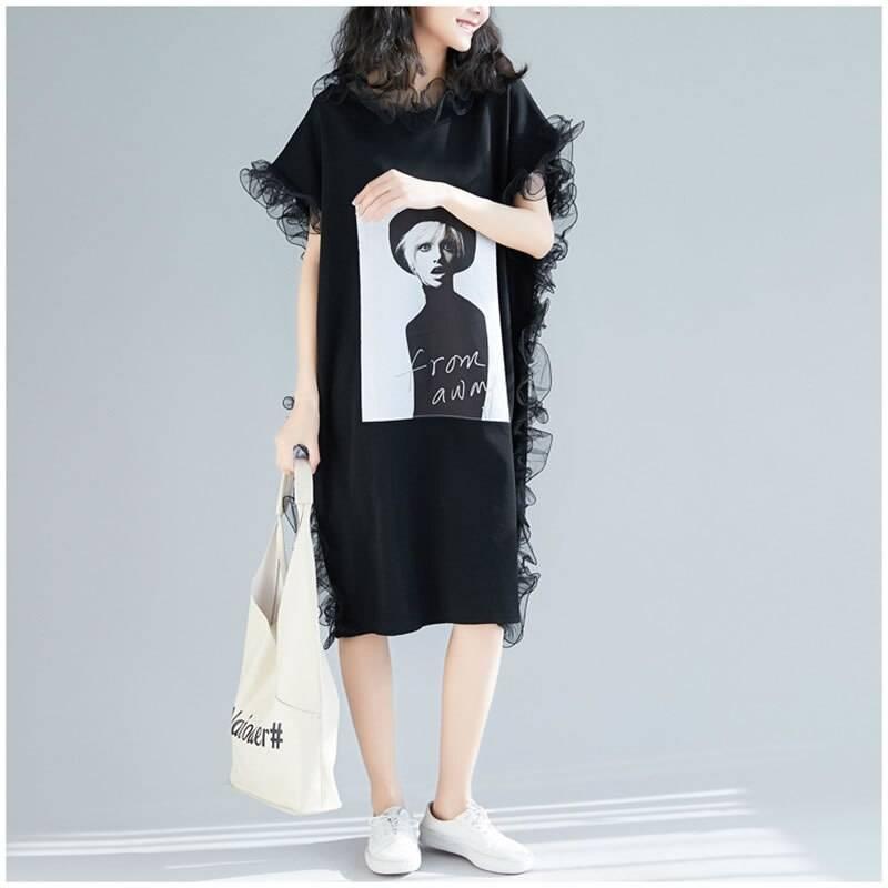Loose short sleeve ruffles o-neck knee-length dress