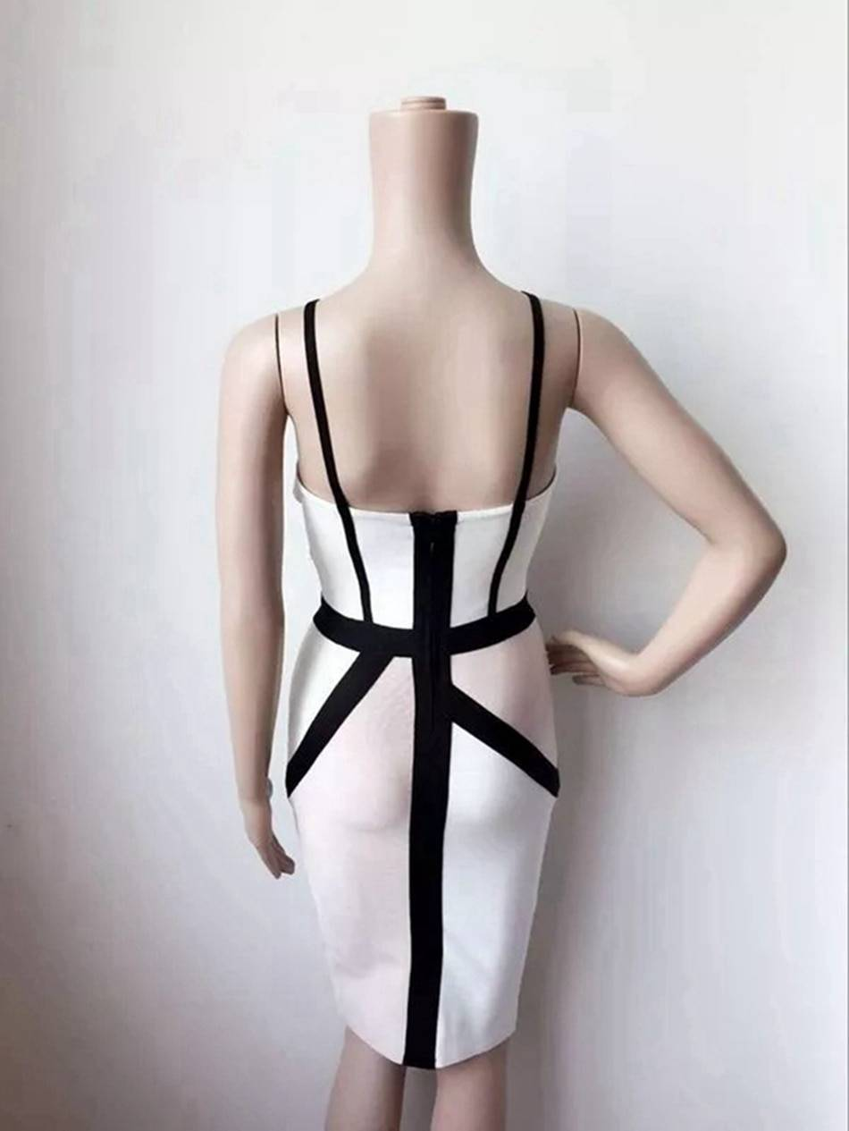 Sexy Patchwork Bandage Dress Women 2021 Spaghetti Strap Strapless Knee Length Dresses Party Club Bodycons Split Ladies Vestidos