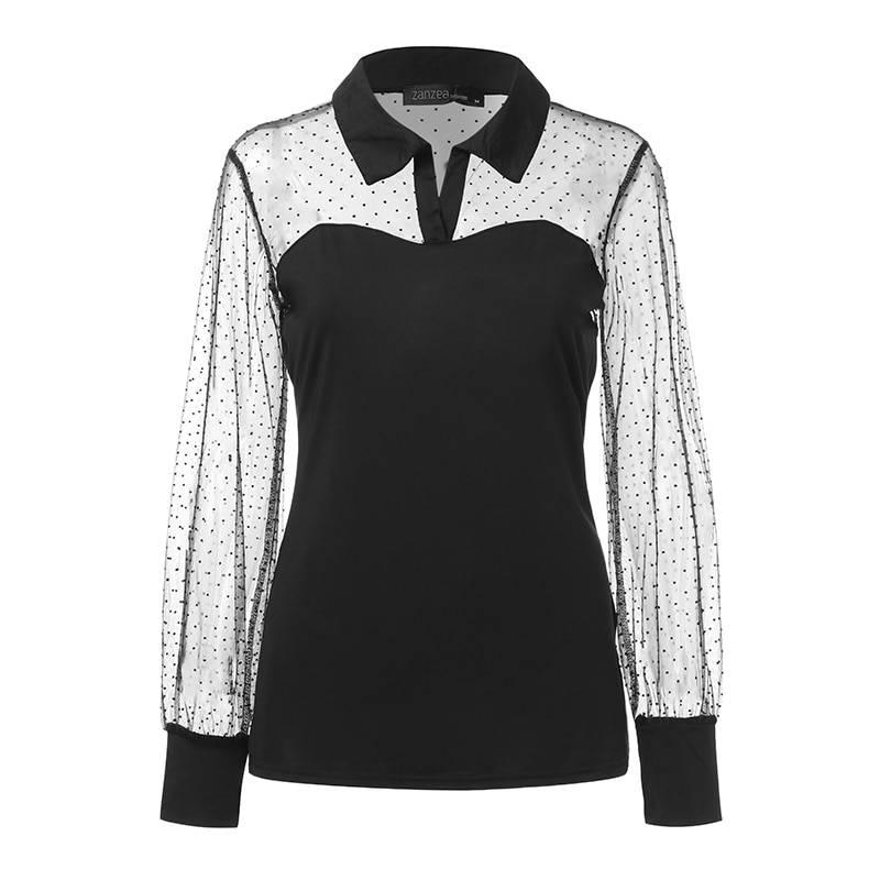 Long sleeve mesh transparent lace patchwork blouse