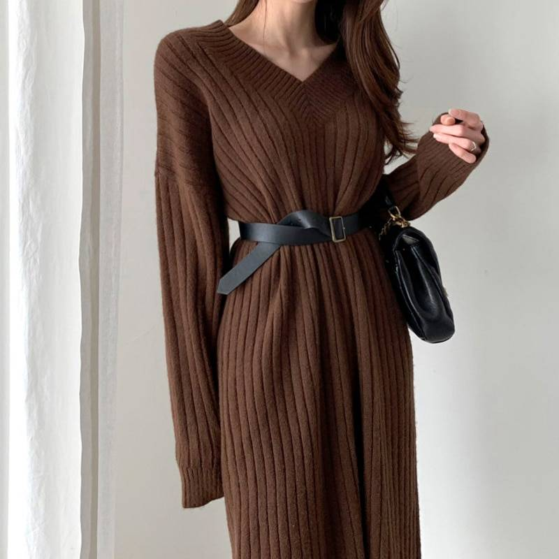 Long sleeve sweater knitted dress