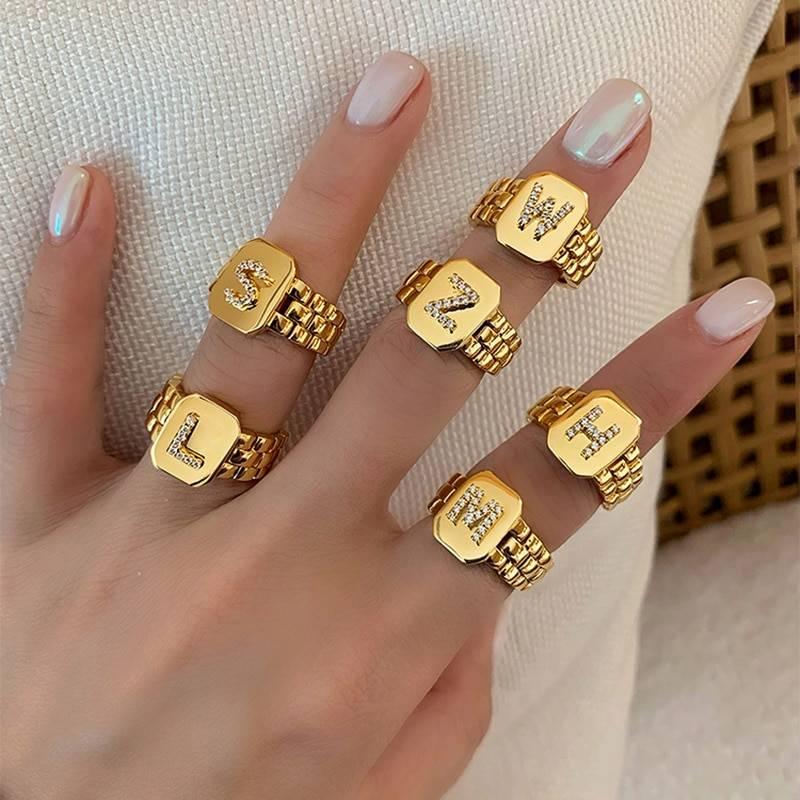 Gold zircon a-z letter women ring