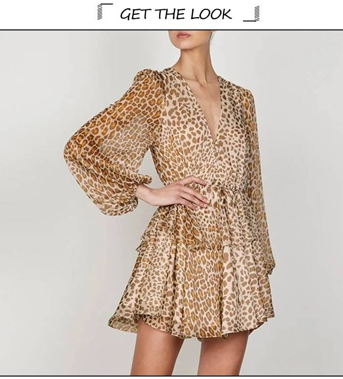 Chiffon balloon sleeve v neckline drawstring leopard print dress