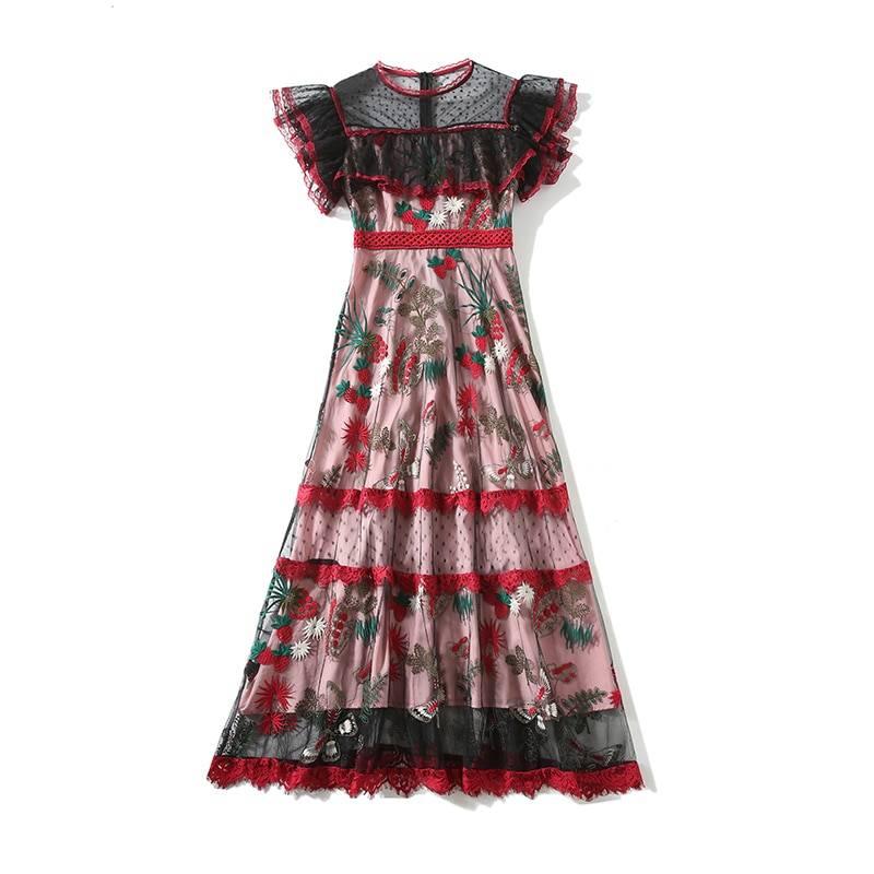 O-neck ruffles flare sleeve lace mesh flower embroidery midi dress