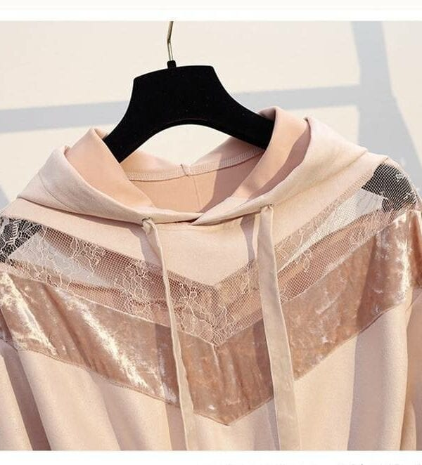 Pink long sleeve hollow out lace patchwork velvet a-line hooded sweatshirt dress