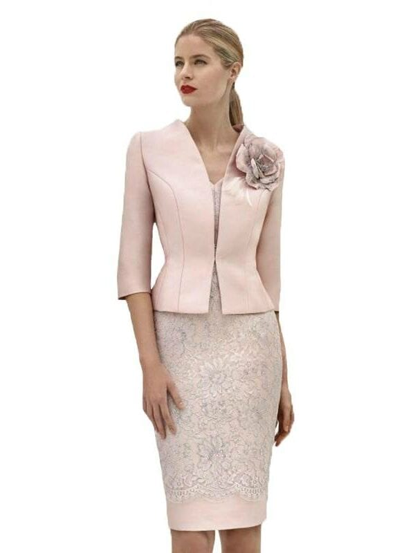 Elegant sheath lace flowers knee length mother of the bride dress with jacket
