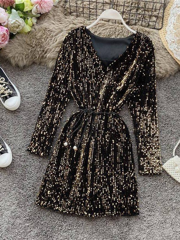 Sequin v-neck long sleeve dress