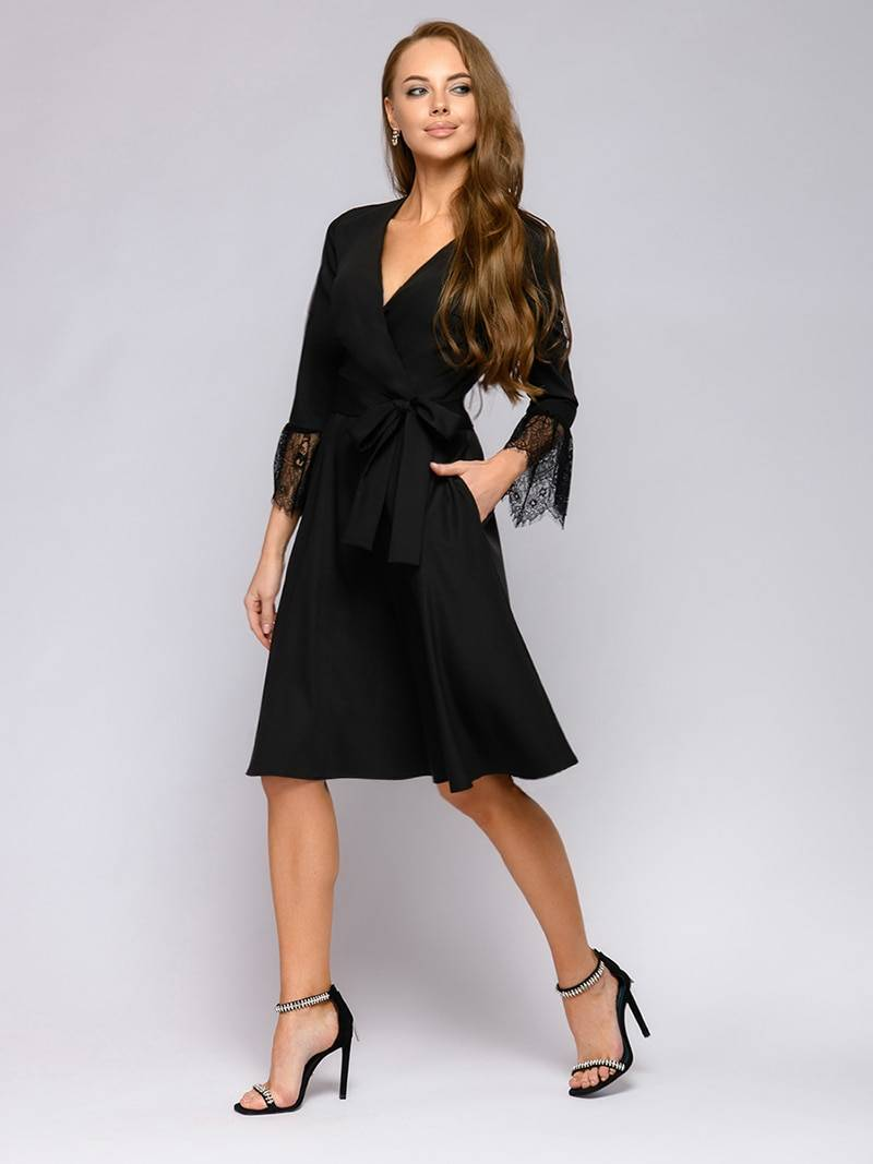 Elegant wrist sleeves sashes pockets lace stitching flare sleeve v neck mini dress
