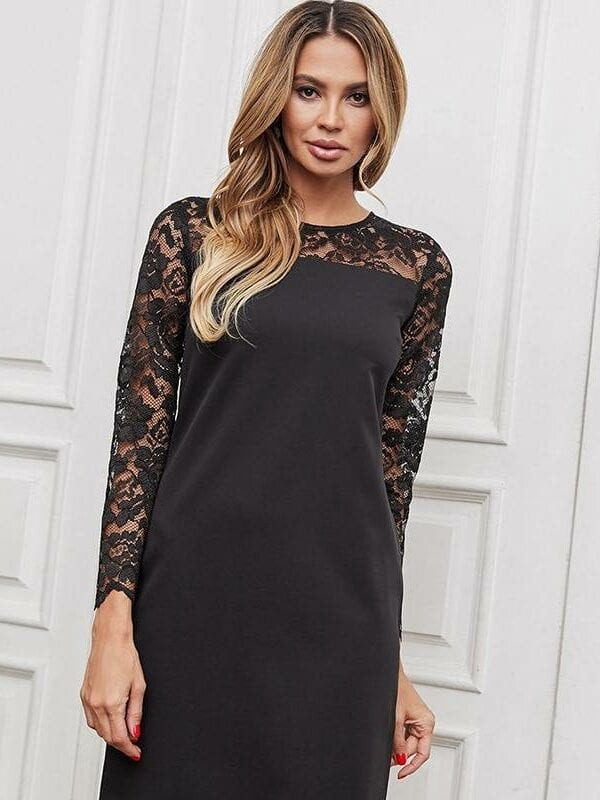Lace stitching straight hollow out long sleeve o neck mini dress
