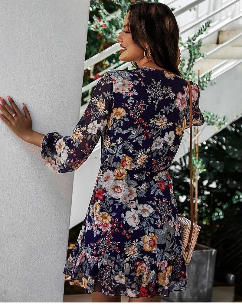 Full sleeve lace up high waist floral chiffon dress