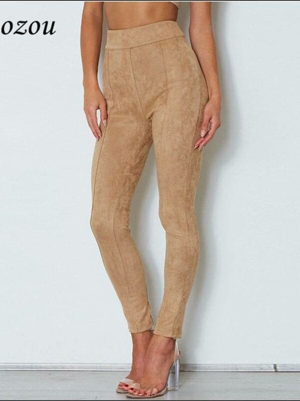 Camel high waist suede back zipper stretch pencil leggings pants