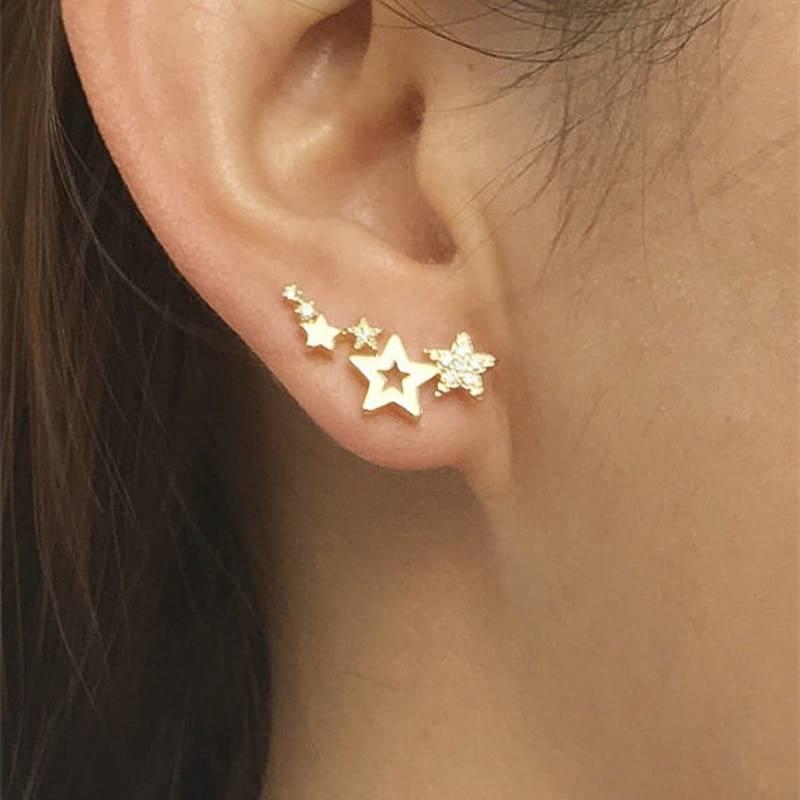 Huitan Hot Selling Simple Stylish Star Women Drop Earrings Shiny White Zircon Exquisite Versatile Female Earring Fashion Jewelry