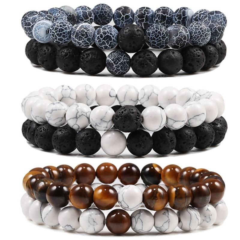 Black White Natural Lava Stone Tiger Eye Beaded Yoga Bracelet 6