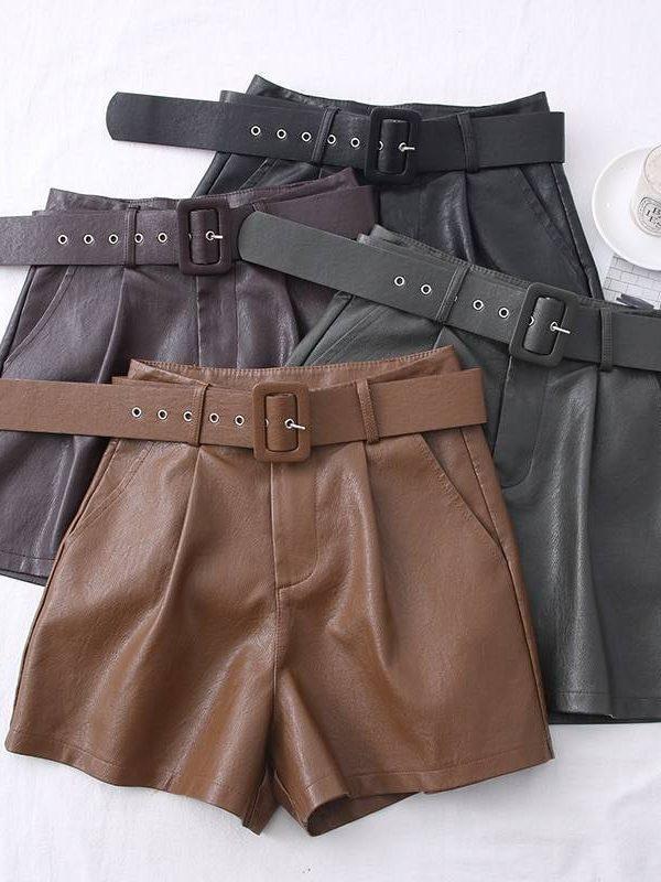 Pu leather sashes wide leg shorts