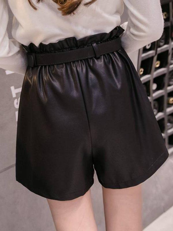 Elegant leather high waist a-line bottoms wide-legged shorts