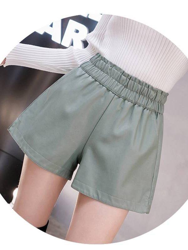 Elastic high waist wide leg biker pu leather shorts