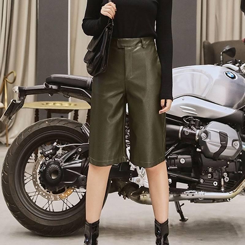 British style pu leather high waist shorts