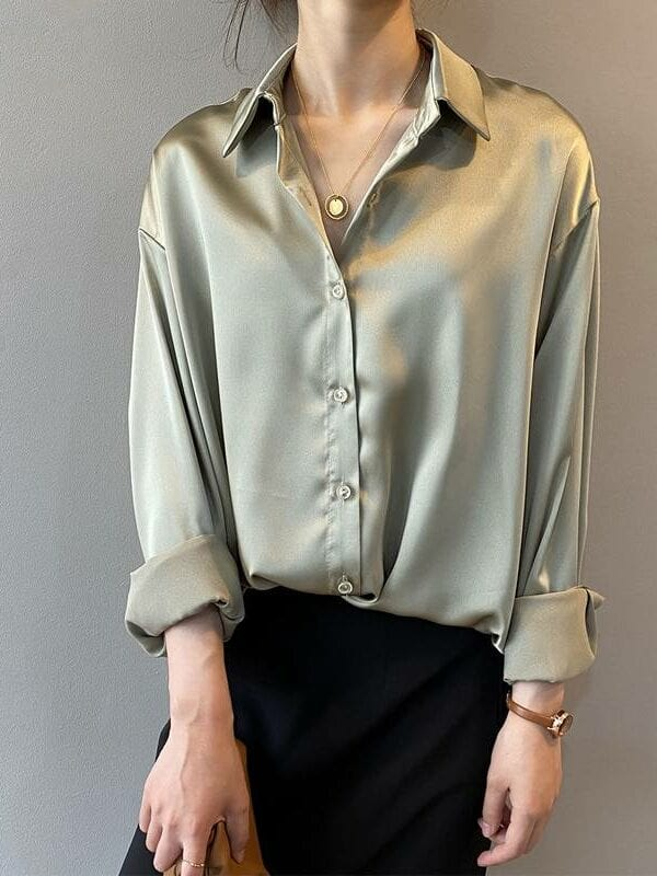 Button up satin long sleeves loose vintage blouse shirt