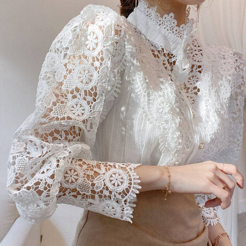 Petal Sleeve Stand Collar Hollow Out Flower Lace Patchwork Shirt 7