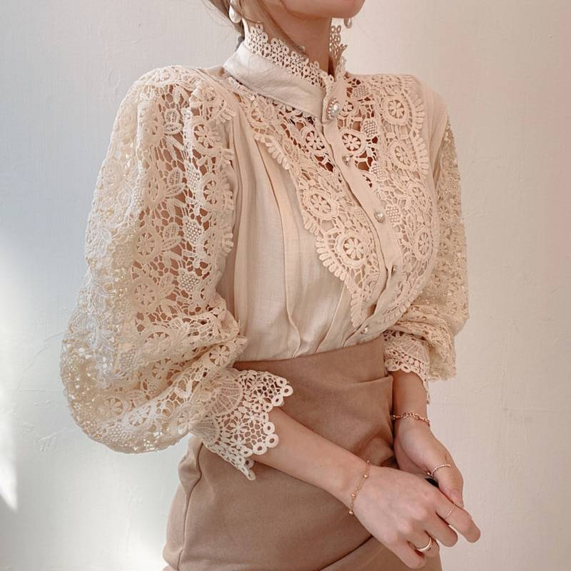 Petal Sleeve Stand Collar Hollow Out Flower Lace Patchwork Shirt 8
