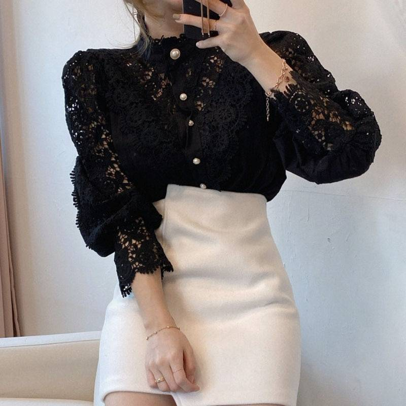 Petal Sleeve Stand Collar Hollow Out Flower Lace Patchwork Shirt 10